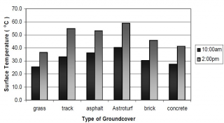 Image of temperature of types of ground cover that dog owners should be aware of.