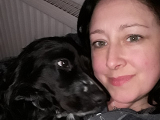 Image of Trooper the spaniel and owner Adele for Vets Now article on dog jellyfish sting UK