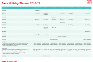 Image of Vets Now bank holiday planner 2018-2019