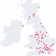 Image of a map showing Vets Now clinic locations across the UK for Vets Now careers site