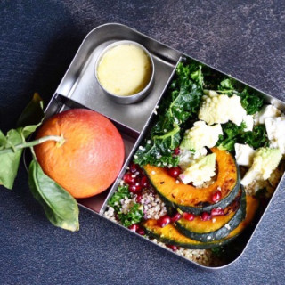 Image of squash & feta lunch box for Vets Now article on healthy eating